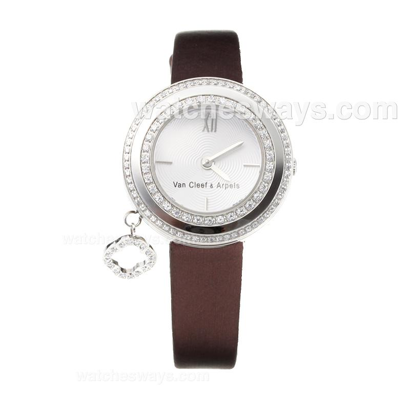 Repliki Van Cleef & Arpel Diamond Bezel with Coffee Leather Strap-Sapphire Glass 178738