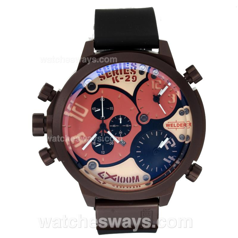 Repliki Welder Working Chronograph Three Time Zone Coffee Case with Black Dial Rubber Strap 196210