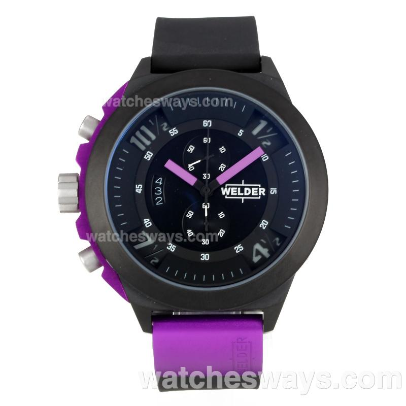 Repliki Welder Working Chronograph PVD Case with Black Dial Purple Needle 172834