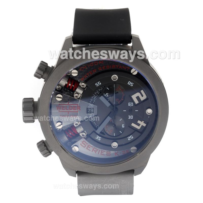 Repliki Welder Working Chronograph Titanium Case with Black Dial-Red Edition 220384