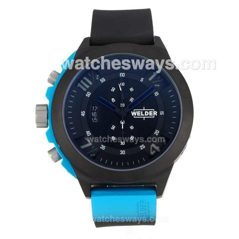 Repliki Welder Working Chronograph PVD Case with Black Dial Dark Blue Needle 172830