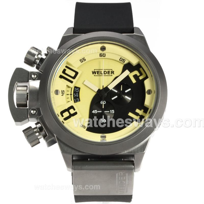 Repliki Welder K24 Working Chronograph with Yellow Dial Rubber Strap-1 120036