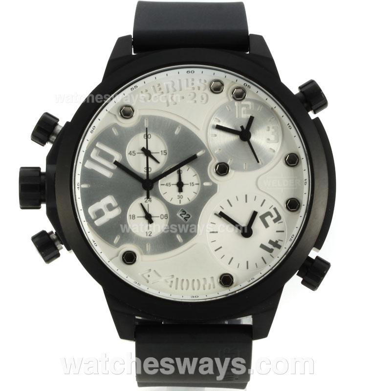 Repliki Welder K29 Three Time Zone Working Chronograph PVD Case with White Dial Rubber Strap 125978