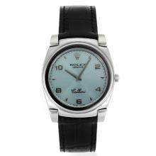 Replik Rolex Cellini Roman Marker mit Light Blue Dial-Black Leather Strap 20103