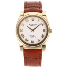 Replik Rolex Cellini Voll Gold Case Roman Marker mit White Dial-Brown Leather Strap 20098
