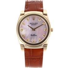 Repliki Rolex Cellini Full Gold Diamond Markers with Pink Mop Dial-Brown Leather Strap 20089