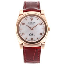 Replik Rolex Cellini Volle Rose Gold Case mit White Dial-Red Leather Strap 20088