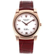 Replik Rolex Cellini Volle Rose Gold Case Number / Stick Marker mit weißem Perlmutt Zifferblatt-Brown Leather Strap 20157