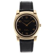 Replik Rolex Cellini Full Gold Case Number / Stick Marker mit schwarzem Zifferblatt-Black Leather Strap 20137