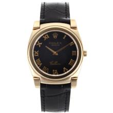 Replik Rolex Cellini Voll Gold Case Roman Markers mit schwarzem Zifferblatt-Black Leather Strap 20133