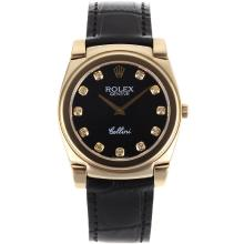 Repliki Rolex Cellini Full Gold Case Diamond Markers with Black Dial-Black Leather Strap 20086