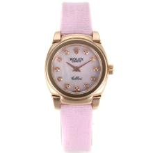 Repliki Rolex Cellini Rose Gold Case Diamond Markers with White Mop Dial-Pink Leather Strap 20085