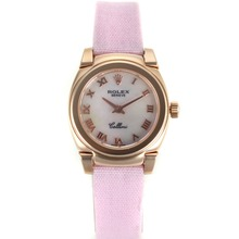 Repliki Rolex Cellini Rose Gold Case Roman Markers with Mop Dial-Pink Leather Strap 20084
