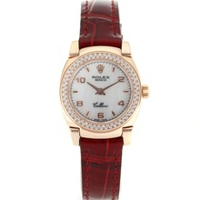 Replik Rolex Cellini Rose Gold Case Diamond Bezel mit White Dial-Red Leather Strap 20077