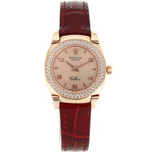 Replik Rolex Cellini Rose Gold Case Diamond Bezel mit Champagner Dial-Red Leather Strap 20074
