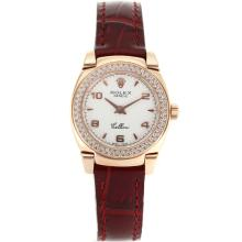 Replik Rolex Cellini Rose Gold Case Diamond Bezel mit White Dial-Red Leather Strap 20073