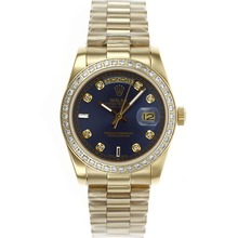 Repliki Rolex Day-Date Automatic Full Gold with Diamond Bezel and Marking--Blue Dial – Attractive Rolex Day Date Watch for You 22634