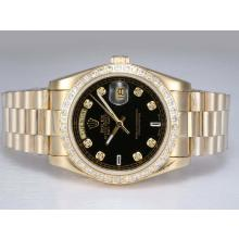Repliki Rolex Day-Date Automatic Full Gold with Diamond Bezel and Marking--Black Dial – Attractive Rolex Day Date Watch for You 22633