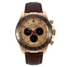 Repliki Rolex Daytona II Automatic Rose Gold Case Ceramic Bezel with Golden Dial-Leather Strap 24153