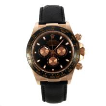 Repliki Rolex Daytona II Automatic Rose Gold Case Ceramic Bezel with Black Dial-Leather Strap 24152
