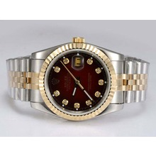 Replik Rolex Datejust Automatic Two Tone mit Diamant Marking-Red Dial - Attraktive Rolex DateJust Armbanduhr für Sie 21976