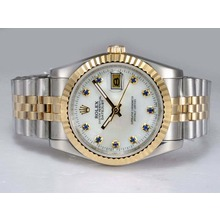 Replik Rolex Datejust Automatic Two Tone mit Blue Diamond Marking-White Dial - Attraktive Rolex DateJust Armbanduhr für Sie 21975