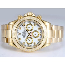 Repliki Rolex Daytona Automatic 18K Full Gold Plated with Diamond Bezel-White Dial – Attractive Rolex Daytona Watch for You 24056