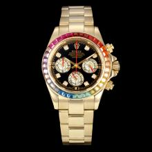 Replik Rolex Daytona Chronograph Arbeitsgruppe Full Gold Rainbow Colors Diamond Bezel mit schwarzem Zifferblatt-2012 New Style (Gift Box ist im Lieferumfang enthalten) - Attraktive Rolex Daytona Uhr für Sie 23068