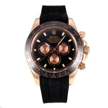 Repliki Rolex Daytona II Automatic Rose Gold Case Ceramic Bezel with Black Dial-Sapphire Glass 24143