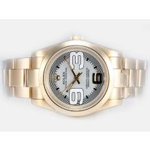 Replik Rolex Air-King Oyster Perpetual Automatische Full Gold mit White Dial-New Version - Attraktive Rolex Air King Armbanduhr für Sie 20044