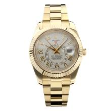 Replik Rolex Himmelsbewohner Automatic Full Yellow Gold Case mit White Dial-Saphirglas 24955