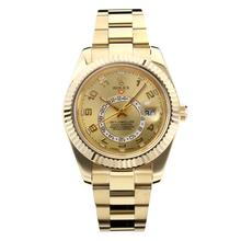 Replik Rolex Himmelsbewohner Automatic Full Yellow Gold Case mit Golden Dial-Saphirglas 24954