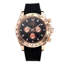 Repliki Rolex Daytona II Automatic Rose Gold Case with Black Dial-Rubber Strap 24135