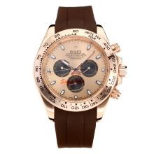 Repliki Rolex Daytona II Automatic Rose Gold Case with Champagne Dial-Rubber Strap 24134