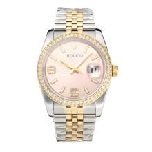 Repliki Rolex Swiss ETA 3135 Movement Two Tone Diamond Bezel with Super Luminous Pink Dial-Sapphire Glass – Attractive Rolex Others Watch for You 24862