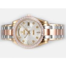 Repliki Rolex Masterpiece Automatic Three Tone Diamond Bezel and Marking with Silver Computer Dial – Attractive Rolex Masterpiece Watch for You 24710