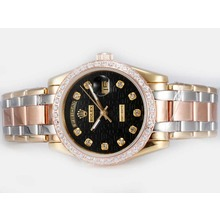 Repliki Rolex Masterpiece Automatic Three Tone Diamond Bezel and Marking with Black Computer Dial – Attractive Rolex Masterpiece Watch for You 24709