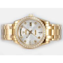 Repliki Rolex Masterpiece Automatic Full Gold Diamond Bezel and Marking with Silver Computer Dial – Attractive Rolex Masterpiece Watch for You 24706