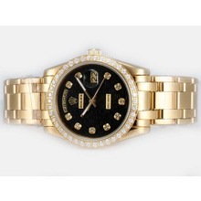 Repliki Rolex Masterpiece Automatic Full Gold Diamond Bezel and Marking with Black Computer Dial – Attractive Rolex Masterpiece Watch for You 24705