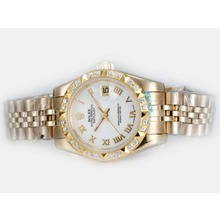 Replik Rolex Datejust Automatic Full Gold Diamond Bezel mit White Dial-Roman Marking - Attraktive Rolex DateJust Armbanduhr für Sie 21849