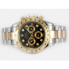 Repliki Rolex Daytona Automatic Two Tone Diamond Marking with Black Dial – Attractive Rolex Daytona Watch for You 24012