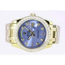Repliki Rolex Masterpiece Automatic Full Gold Diamond Marking and Bezel with Blue Dial – Attractive Rolex Masterpiece Watch for You 24690