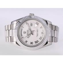 Repliki Rolex Day-Date II Automatic Roman Marking with White Dial-41mm New Version – Attractive Rolex Day Date II Watch for You 23015