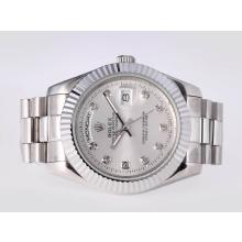 Repliki Rolex Day-Date II Automatic Diamond Marking with Silver Dial-41mm New Version – Attractive Rolex Day Date II Watch for You 23014