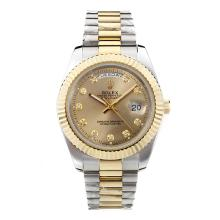 Repliki Rolex Day-Date II Automatic Two Tone Diamond Marking with Golden Dial-41mm New Version – Attractive Rolex Day Date II Watch for You 23007