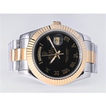 Repliki Rolex Day-Date II Automatic Two Tone Roman Marking with Black Dial-41mm New Version – Attractive Rolex Day Date II Watch for You 22997