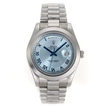 Repliki Rolex Day-Date ⅡAutomatic Blue Dial with Roman Marking S/S – Attractive Rolex Day Date II Watch for You 22977