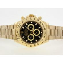 Replik Rolex Daytona II Automatic Full Gold mit schwarzem Zifferblatt / Stick Marking-42mm Version 24186