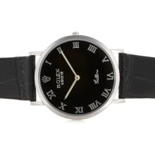 Repliki Rolex Cellini Roman Markers with Black Dial and Strap 20129