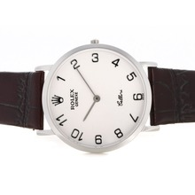 Replik Rolex Cellini Anzahl Marker mit White Dial-Leather Strap 20128